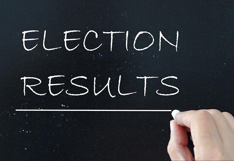 election results written on chalk board