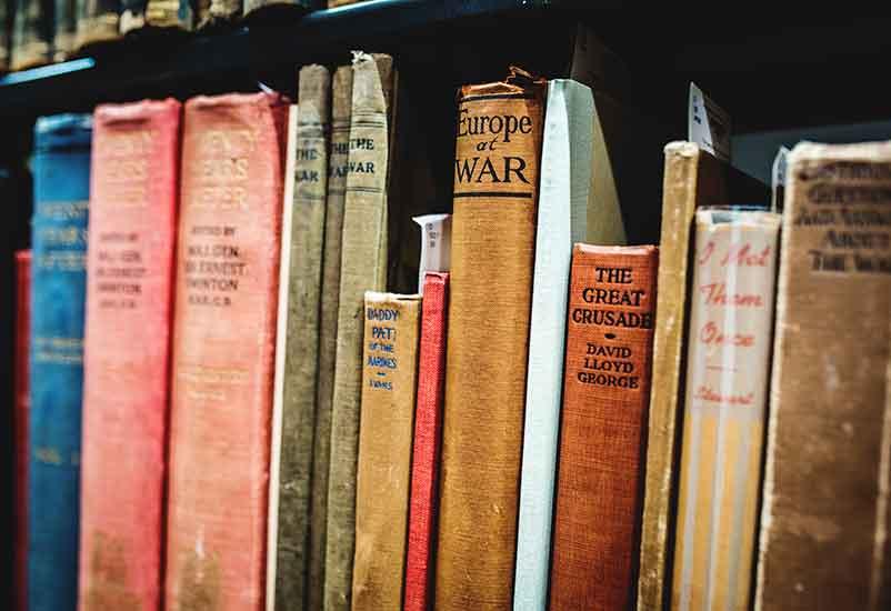 old books on book shelf